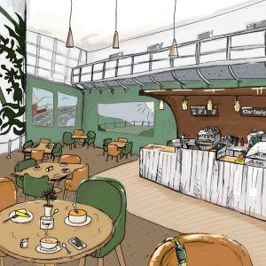 Cwm Taf Health board, Cwm Taf Coffee shop, Cwm taf coffee shop illutrstaion, architects illustration, visual,